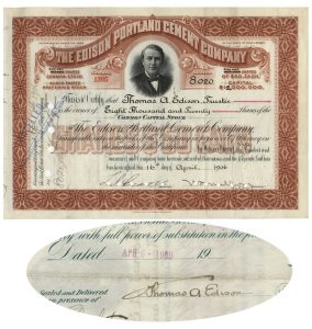 Edison Portland Cement Company stock certificate issued to and signed by Thomas Edison